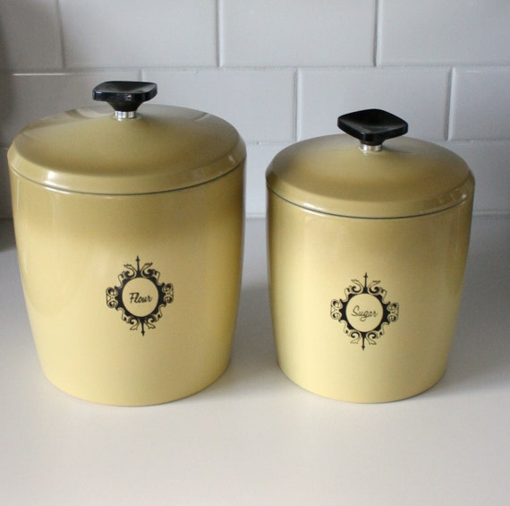 Vintage Kitchen Canisters Retro Metal West Bend Ombre Yellow
