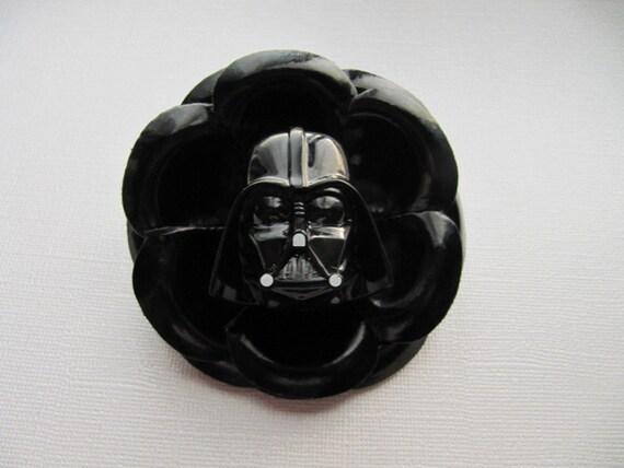 Black Shiny Vinyl Zinnia Flower DARTH VADER the Dark Side Sith Lord Hair Clip Pin