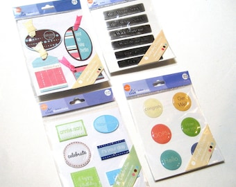 Card Making / Scrapbooking Sayings Stickers - Fabric Metal Paper and Resin - Four Packs (4)