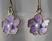 Lavender Sakura Earrings Encircled in Gold