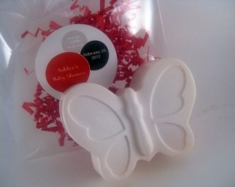 100 Butterfly Baby Shower Wedding Party Favors Glycerin Soap with Raffia and Twine Custom Label