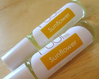 Sunflower Perfume Oil Roll On Paraben Free Coconut Oil Summer Floral Scent 7ml glass bottle
