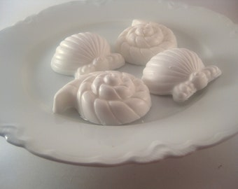 Guest Soap Set - Tropical Vacation Sea Shell Soap Natural Glycerin Soap -  Set of 4 Beach Decor