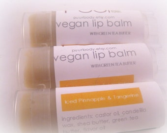Vegan Lip Balm Iced Pineapple and Tangerine Summer Citrus with Green Tea Butter