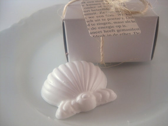 50 Wedding Favors Sea Shell Party Favors Nautical Beach Cottage Theme Glycerin Soap VEGAN