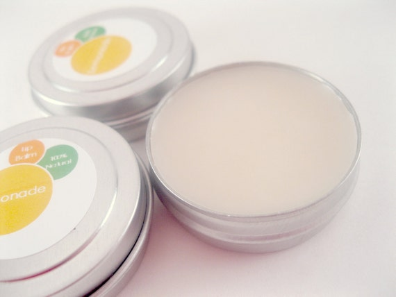 CLEARANCE SALE 50% off Beeswax Lip Balm - Lemonade - All Natural Shea Butter lip balm with Essential Oils .5 ounce Tin