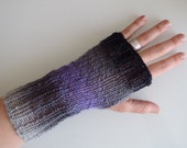 Knit Fingerless Gloves - Purple, Grey, Black - Medium / Large
