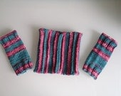 Already Thinking Spring Pink and Green Matching Set - Cowl and Fingerless Gloves