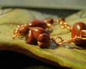 Froggy-licious breciated red jasper, mahogany obsidian and copper bracelet