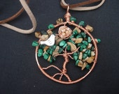 Pendant - Malachite and picture jasper tree of life pendant