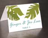 Tropical Leaf Place Cards - Escort Cards