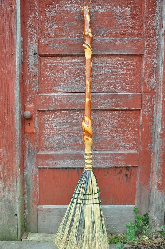 Handmade Sassafras Kitchen Broom with Deep Natural Vine Spiral