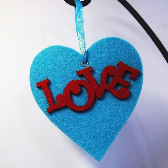 Bright blue heart with red hot LOVE Valentine Heart Ornament Gift Tag