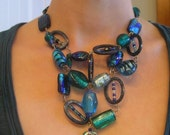 Bluesy Glass and Shell Necklace
