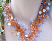 Spiral Crochet Copper and Sky Blue Creation Whimsically Fit for the Fairy in Us All