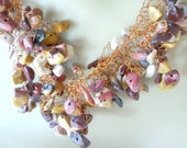 Crocheted Necklace of Super Fine Copper Wire and Mookaite in a Ruffled Design