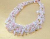 Knitted Necklace, full of Rose Quartz, Matt Crystal AB Teardrops and Lentil Beads
