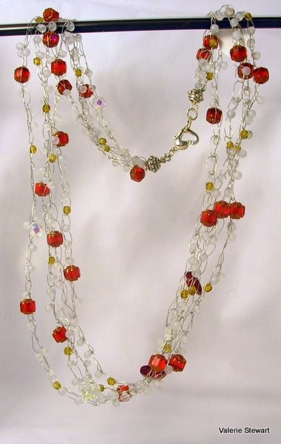 Hand Crocheted Beaded Necklace