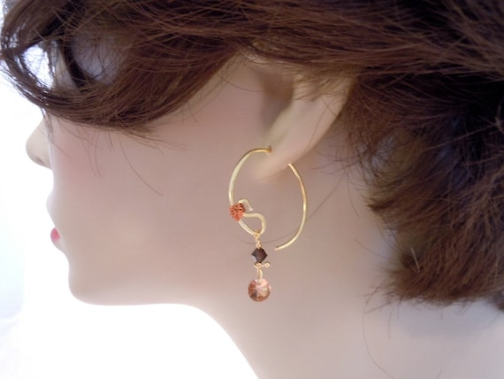 Earrings Simplified with delicate Swarovski Crystals in Milk Chocolate AB and Dark Chocolate colors