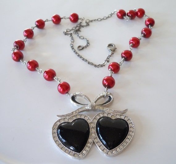 Upcycled Necklace Two Hearts and Red Pearls
