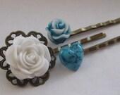 Filigree Flower Hair Pins,Bobby pin hair accessory,Rose hair accessories,Bobby pin flower Turquoise and White