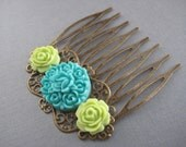 Rose Filigree Hair Comb,Hair Barrette,Flower hair accessories,Hair accessories-Turquoise and Apple Green-Bridal,Gifts,Birthday,Gift