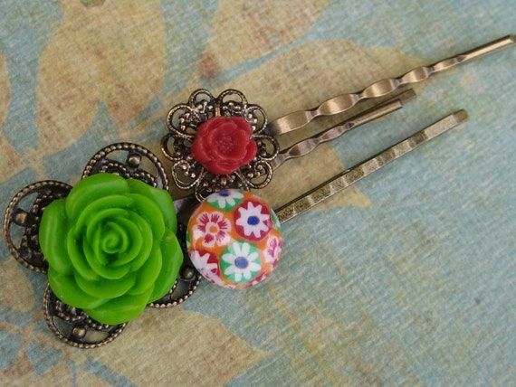Antique Brass Bobby Pins,Flower Filigree Hair Pins, Hair Accessories,Bobby pin set -  By Naz Creations