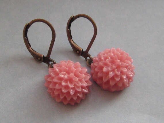 Pink Mums Dangling Earrings In Antique Brass - Great for Sensitive Skin By Naz Creations