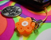 Cool Neon Orange Flower with white center Perler Bead Phone Charm or Zipper Pull
