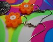 Cool Neon Orange Flowers with white center Perler Bead Dangle Earrings