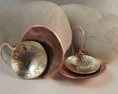Sterling Silver Vintage Mixed  Metal and Copper Bowl Earrings OOAK 327