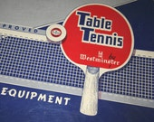 1940's Table Tennis Set Ping Pong game four nice paddles in almost new complete condition with damaged original box Basement bar nixon china