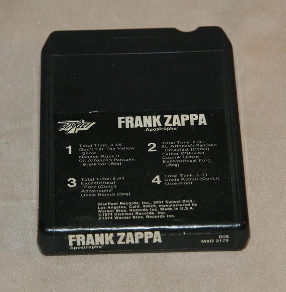1970s 1974 Frank Zappa Apostrophe LP Record on 8 Eight Track Warner Discreet Guitar Rock and Roll Don't Eat the Yellow Snow