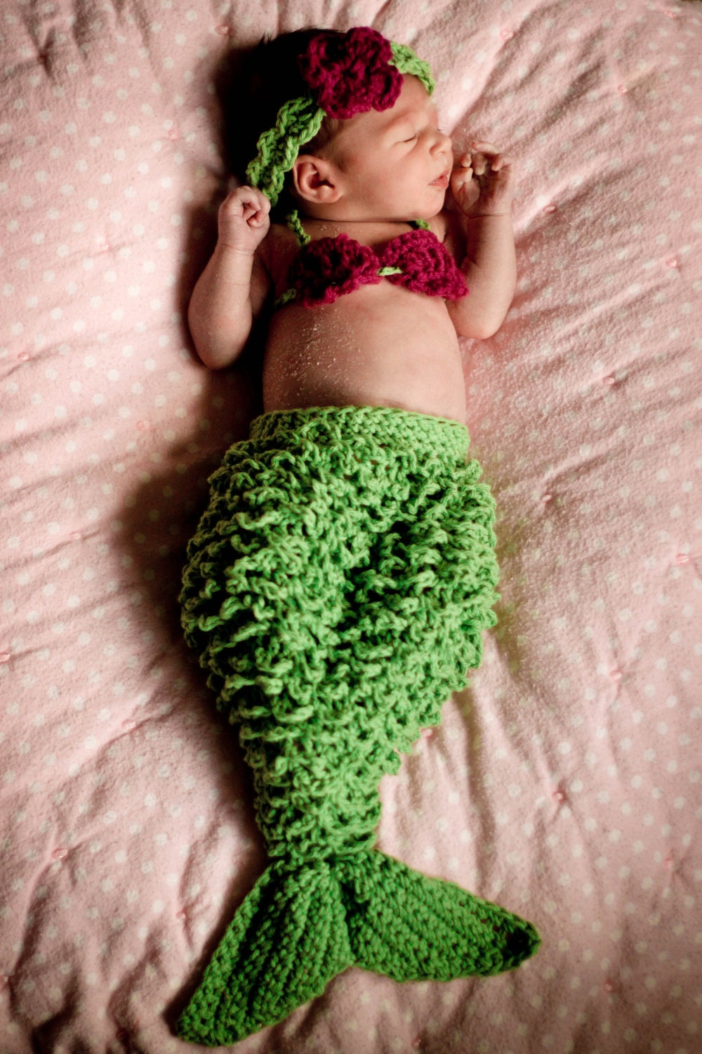 Crochet Patterns Mermaid : Newborn Mermaid PDF crochet Pattern by BrindyRae on Etsy