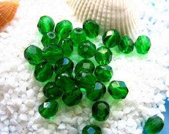 Czech fire polished 6mm glass beads-50 pcs translucent emerald green