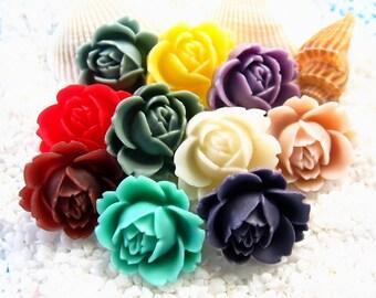 Resin Rose Cabochon - 19mm x 22mm - 18 pcs - Mixed Colors