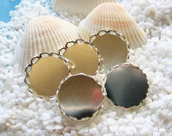 Brass Lace Edge Cabochon Settings - Silver Plated Round - 15mm - 12 pcs