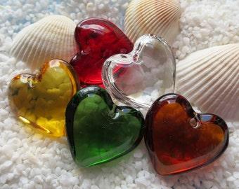 Transparent Glass Heart Pendant - CHOICE OF COLOR - 24mm - 5 pcs
