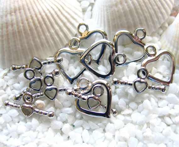Toggle Clasp - Platinum Plated Brass - Heart Shape - 6 sets