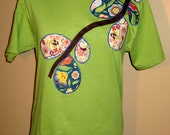 Lime Green Women's Applique TShirt Spring Floral Branch Size M