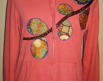 SALE - Fitted Women's Applique Hoodie Sweatshirt; Size Large