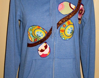 SALE Blue Fitted Women's Applique Hoodie Sweatshirt Spring Flower Branch Size Small