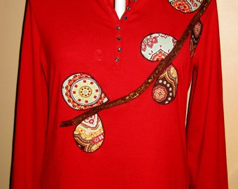 SALE - Women's Long Sleeved Tunic Applique Shirt; Size XL