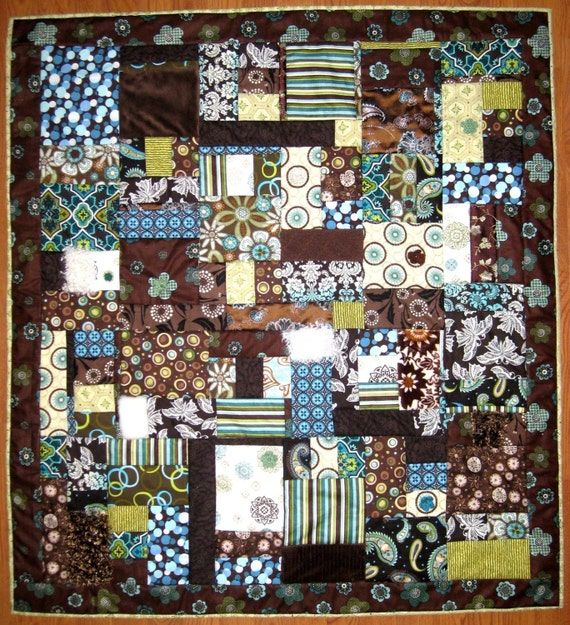 "SALE - Handcrafted Textured Couture Baby Quilt ""Wooden Forest"""