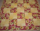 Clearance Sale - Pink and Yellow Floral Baby Quilt
