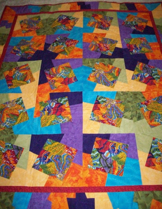 Sale - Butterfly Kaleidescope Baby Quilt