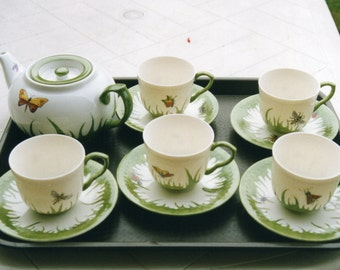 Bugs Tea set - Handpainted original with fine details - One of a kind collectible