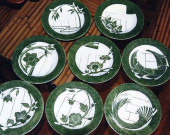JAPANESE SET- Dessert plates - Handpainted with Limoge technique