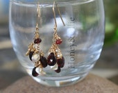 Garnet, pearl, and spinel gold fill earrings