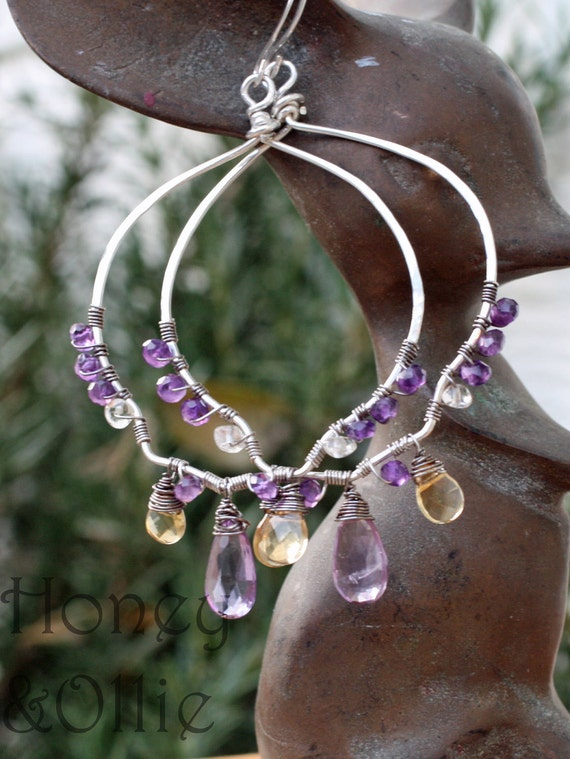Amethyst and citrine chandelier earrings in sterling silver